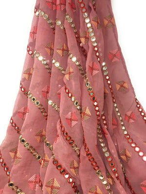 Mirror Work Fabric In Thulian Pink On Georgette Material