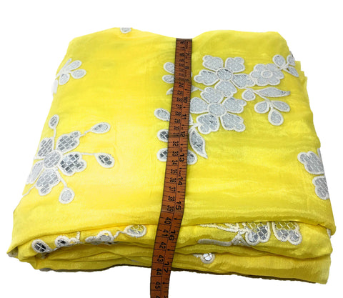 Silver Gota Patti Floral Work On Yellow Chiffon Fabric Cloth Material Online - 1.5 Meter