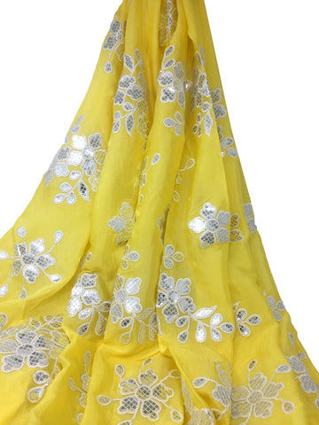 Silver Gota Patti Floral Work On Yellow Chiffon Fabric
