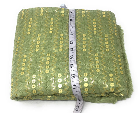 Green Gold Sequin Embroidery Fabric By The Meter - 1.5 Meter