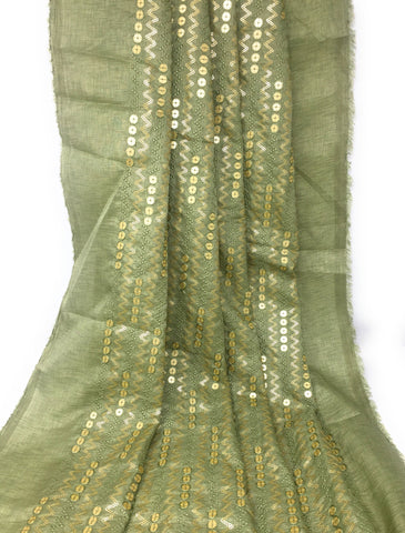 Green Gold Sequin Embroidery Fabric