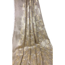 Load image into Gallery viewer, Large Gold Sequins Embroidered On Beige Silk Fabric - fabric Flat Slik Soft Bamboo Slik Fabric with Embroidery n Sequins design in center