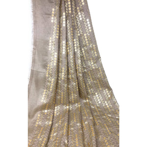 Large Gold Sequins Embroidered On Beige Silk Fabric - fabric Flat Slik Soft Bamboo Slik Fabric with Embroidery n Sequins design in center