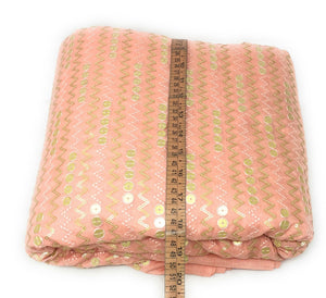 Sequins Embroidery On Peach Silk Fabric In Geometric Pattern Fabric By The Yard - 1.5 Meter