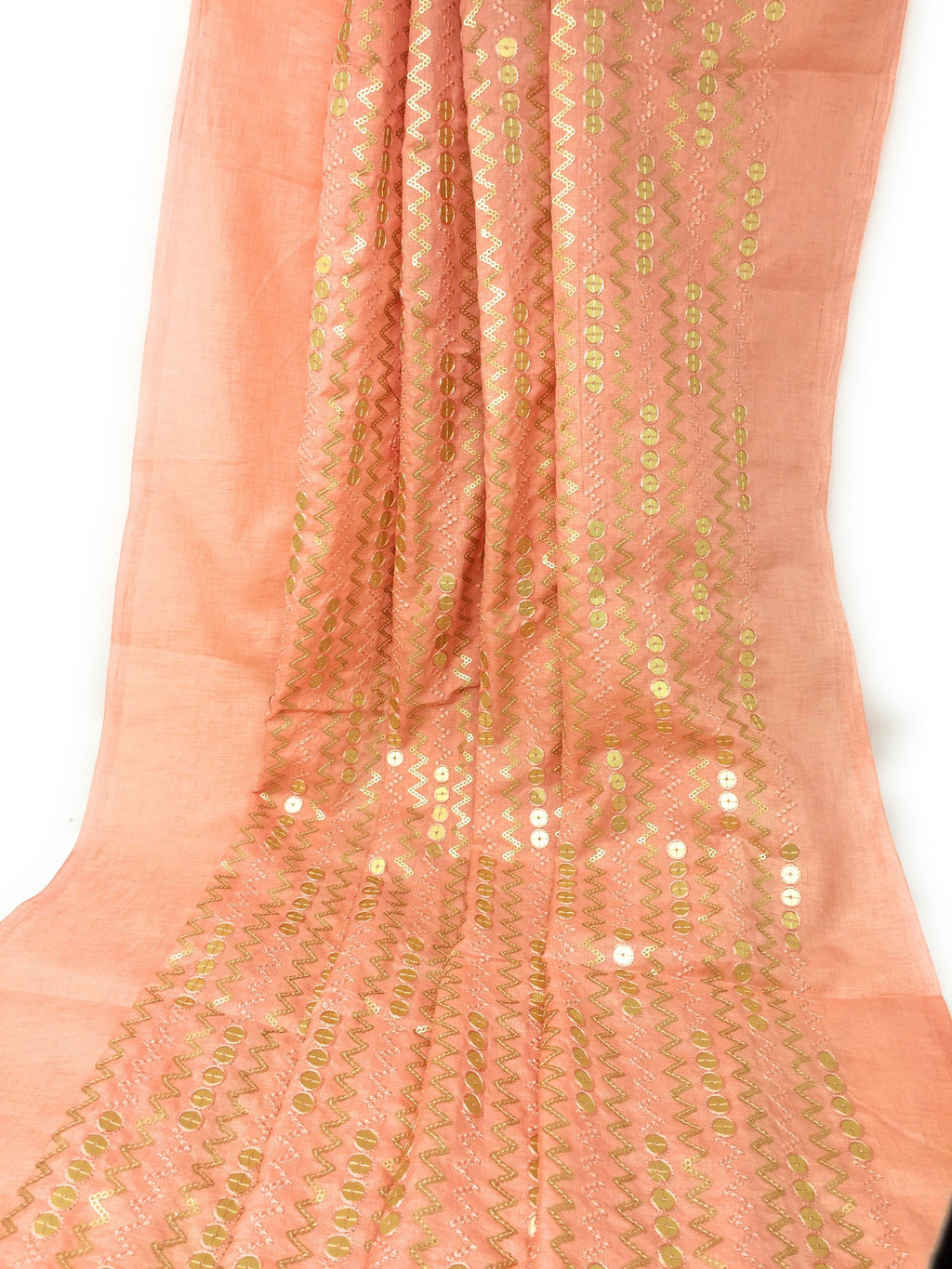 Sequins Embroidery On Peach Silk Fabric In Geometric Pattern