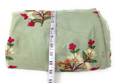 Thread Embroidery On Peach Chiffon Fabric Cloth Material Online - 1.5 Meter
