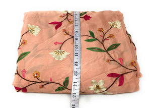 Thread Embroidery On Peach Chiffon Fabric By The Yard - 1.5 Meter