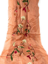 Load image into Gallery viewer, Thread Embroidery On Peach Chiffon Fabric