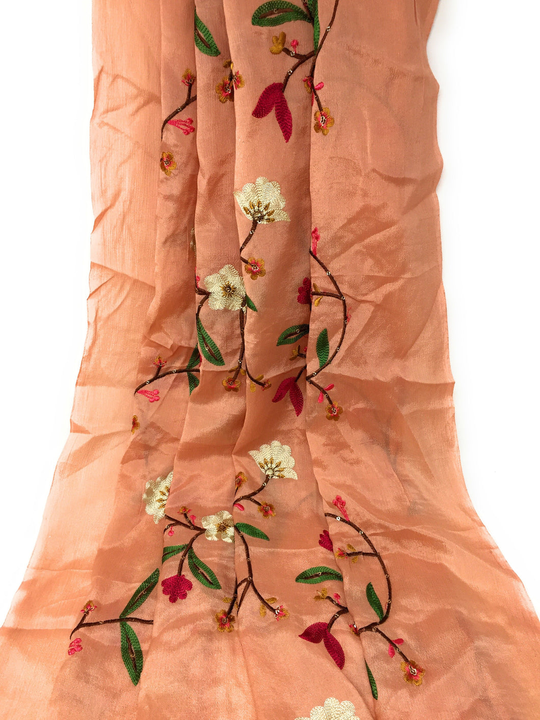 Thread Embroidery On Peach Chiffon Fabric