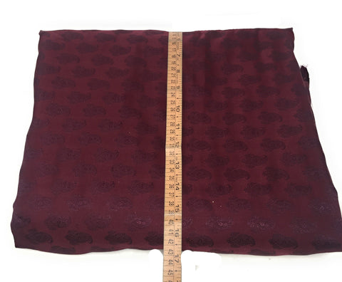 Image of Real Silk By The Yard, Damask Pattern, Maroon Colour By The Meter - 1.5 Meter