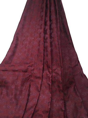Image of Real Silk By The Yard, Damask Pattern, Maroon Colour