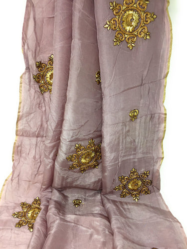 Lavender Embroidered Silk Fabric For Dresses