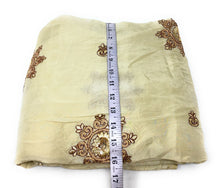 Load image into Gallery viewer, Floral Embroidery On Creamish Yellow Silk Fabric Unsttiched Fabric Online - 1.5 Meter