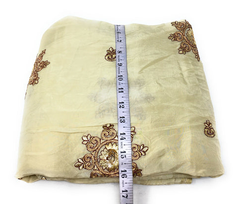 Floral Embroidery On Creamish Yellow Silk Fabric Unsttiched Fabric Online - 1.5 Meter
