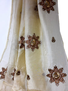 Floral Embroidery On Creamish Yellow Silk Fabric