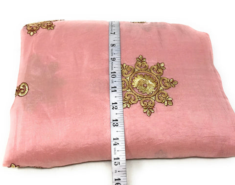 Image of Dusty Pink Silk Fabric With Embroidery Indian Fabric Online - 1.5 Meter
