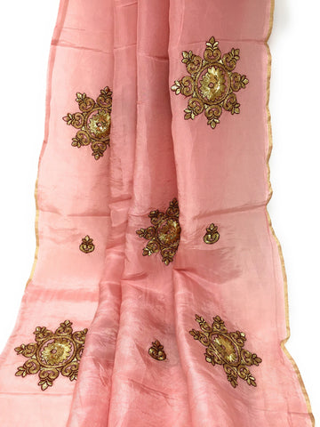 Image of Dusty Pink Silk Fabric With Embroidery