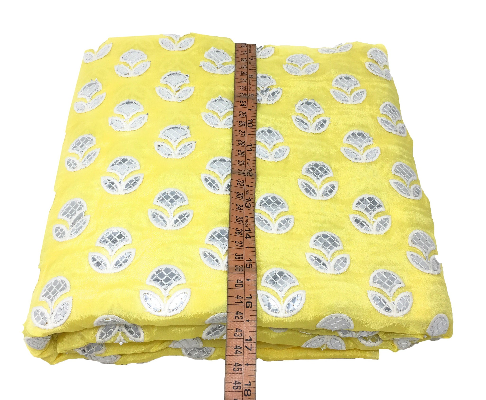 Silver Gota Patti Work On Yellow Chiffon Fabric Cloth Material Online - 1.5 Meter