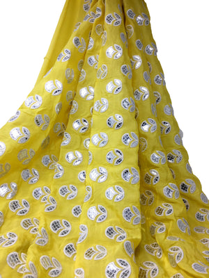 Silver Gota Patti Work On Yellow Chiffon Fabric