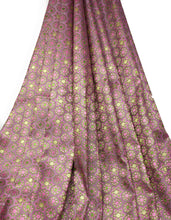 Load image into Gallery viewer, Real Banarasi Silk Brocade Fabric In Lavender, Floral Pattern