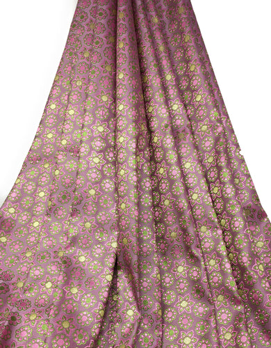 Real Banarasi Silk Brocade Fabric In Lavender, Floral Pattern