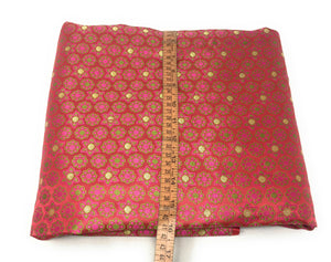 Real Silk Brocade Fabric In Pink Colour Cloth By The Yard - 1.5 Meter