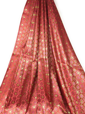 Real Silk Brocade Fabric In Pink Colour