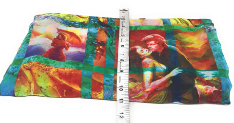 Image of Multicolour Movie Print Georgette Fabric
