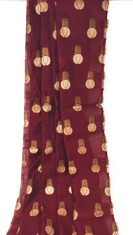 Image of Maroon Silk Brocade Fabric Material