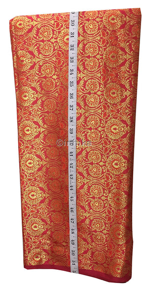Brocade Material | Jacquard Work | Crisp Hand Feel | Polyester Fabric | Price By Meter