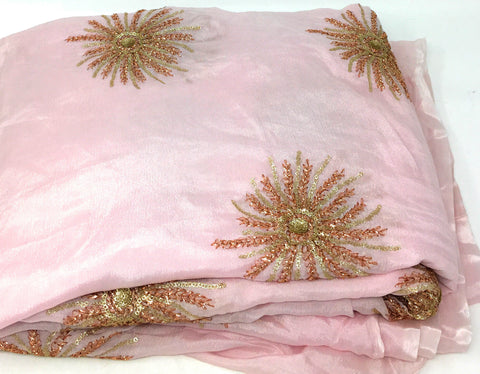 Image of Kurti Material Blouse Fabric by meter Onion Pink Chiffon Copper Gold Embroidery