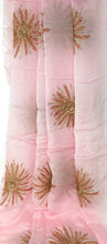 Load image into Gallery viewer, Kurti Material Blouse Fabric by meter Onion Pink Chiffon Copper Gold Embroidery
