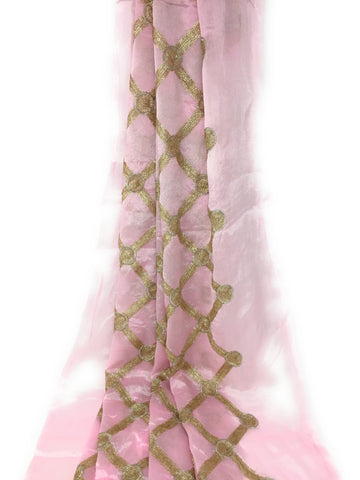 Image of Kurti Material Blouse Fabric by meter Light Pink Chiffon Gold Sequins Embroidery