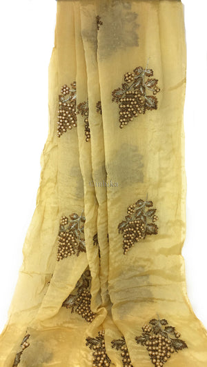 Kurti Material Blouse Fabric by meter Cream Chiffon cream pearls embroidery