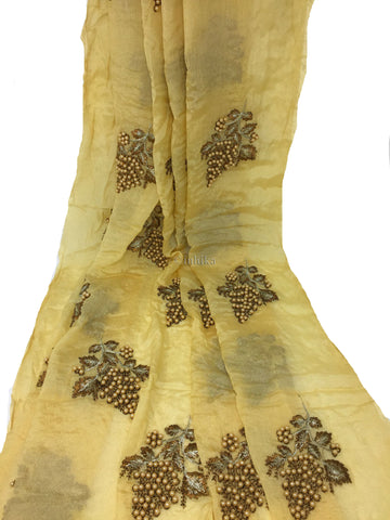 Image of Kurti Material Blouse Fabric by meter Cream Chiffon cream pearls embroidery