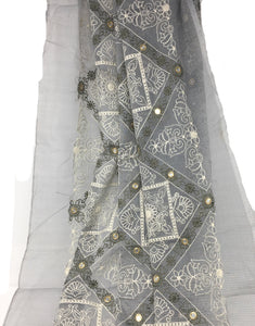 grey embroidery fabric