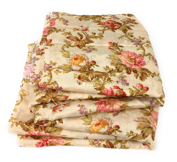 Cream Floral Print Modal Satin Fabric