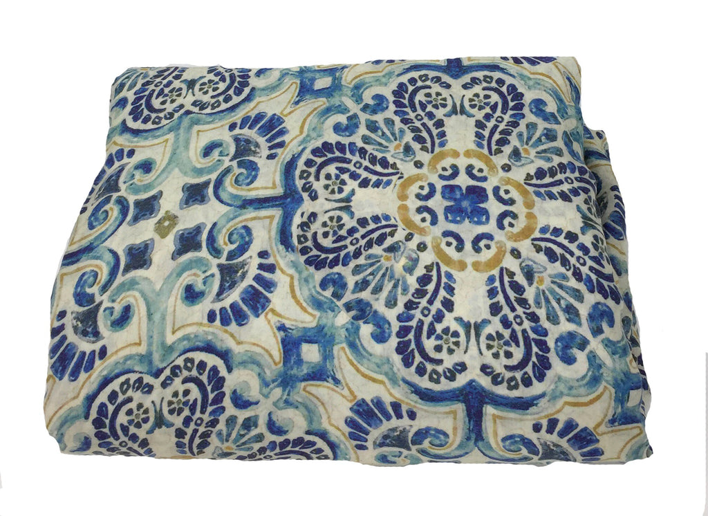 Blue Mosiac Print Modal Satin Fabric