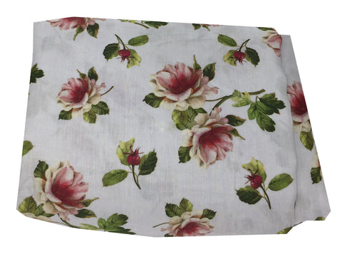 White Floral Print Linen Satin Fabric