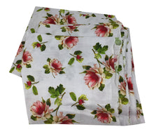 Load image into Gallery viewer, White Floral Print Linen Satin Fabric