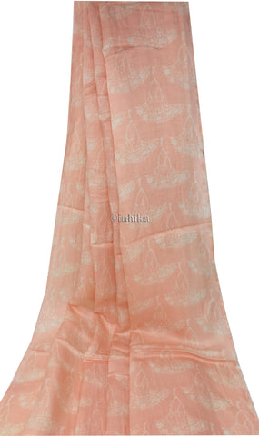 Image of Printed Pink Linen Satin Fabric