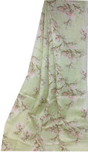 Load image into Gallery viewer, Light Green Floral Print Linen Satin Fabric