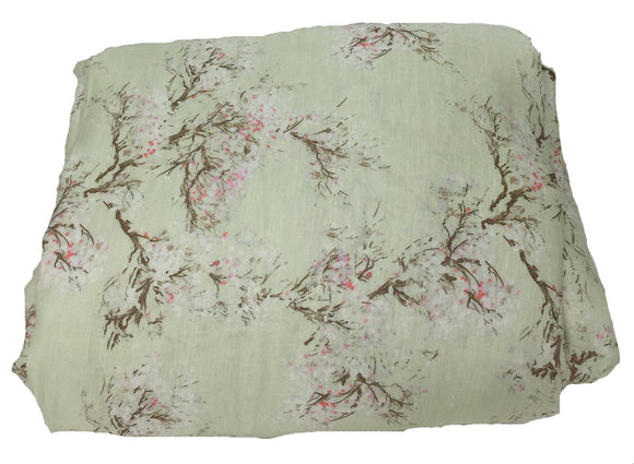 Light Green Floral Print Linen Satin Fabric