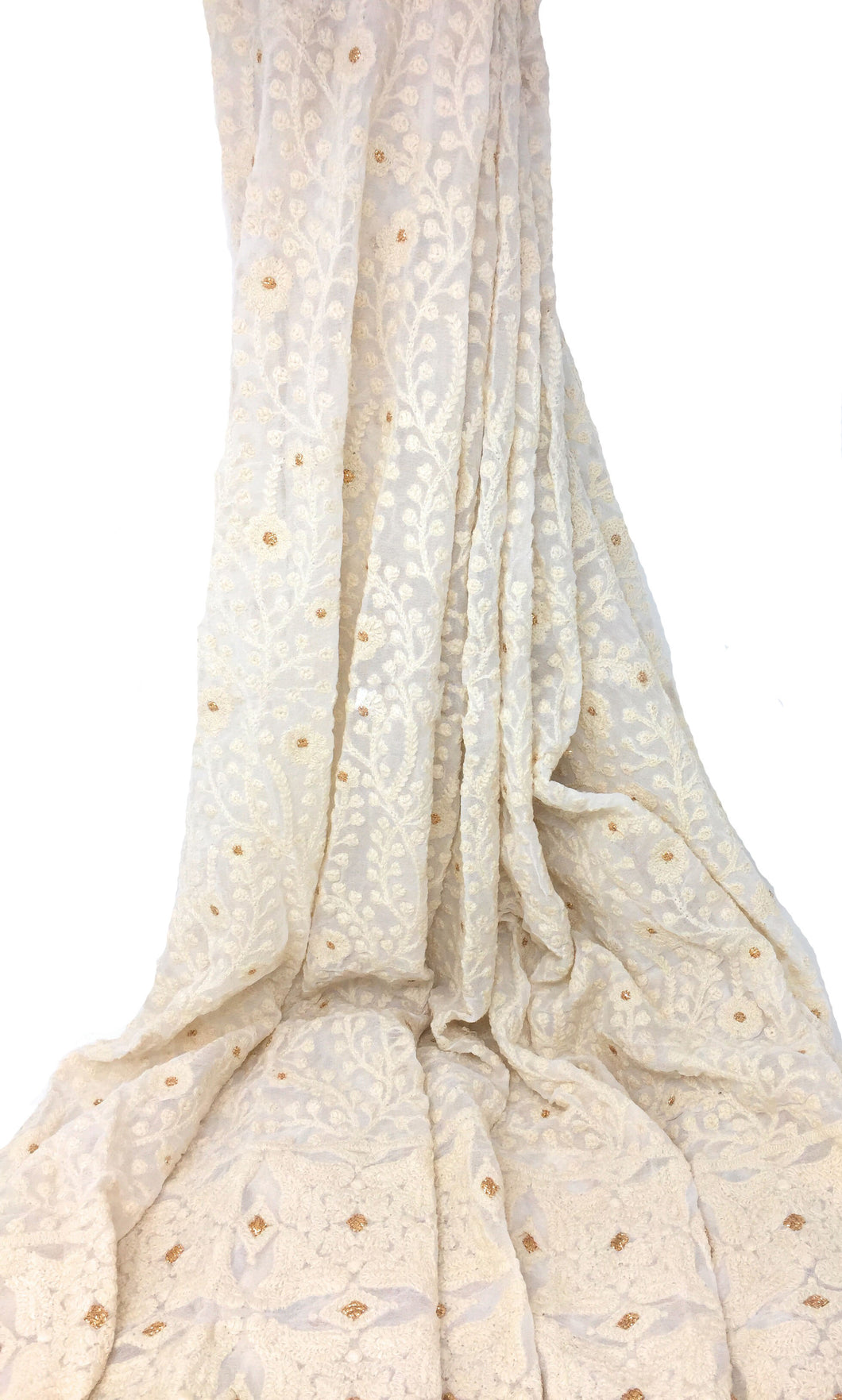 White Georgette Fabric With Golden and White Lucknow Embroidery