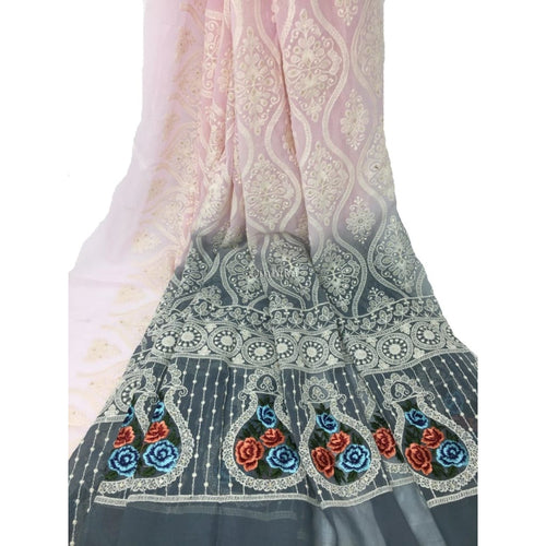 Light Purple Colour Embroidered Dress Material Fabric  - fabric material Georgette EMBROIDERED FABRICS Overall Embroidery Georgette Pink