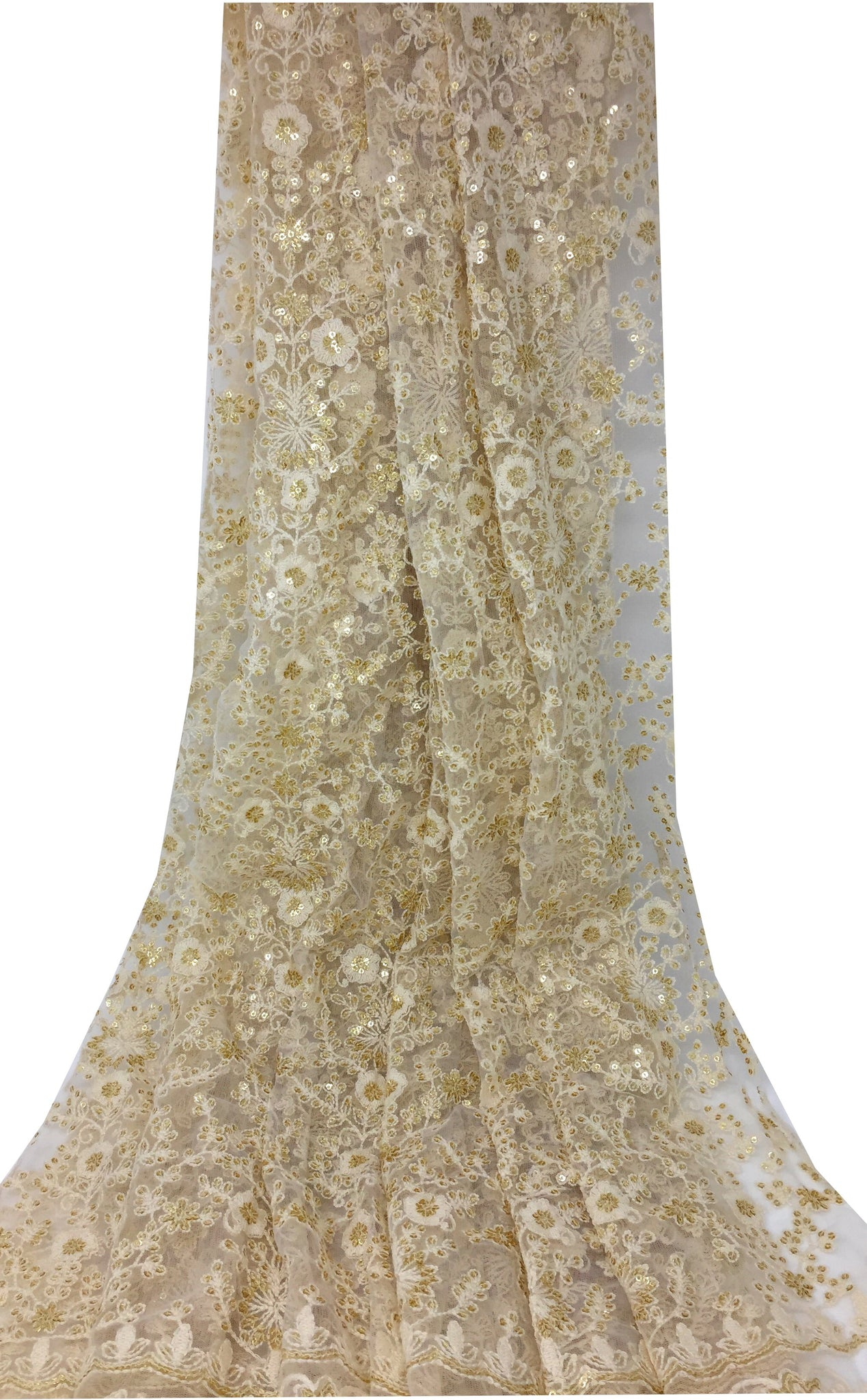 White Embroidered Fabric With Gold Sequins on Net Mesh Tulle Base