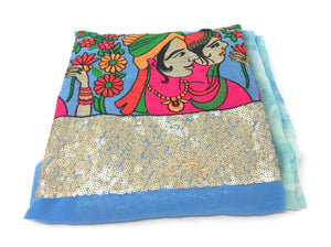 Blue printed with embroiderer indian