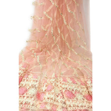Load image into Gallery viewer, Designer Net Fabric Online Light Pink Lucknow Embroidery - fabric pastel net lucknowi embroidery Pastel Net embroidered sequins