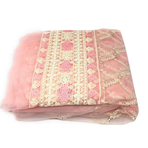 Designer Net Fabric Online Light Pink Lucknow Embroidery - fabric pastel net lucknowi embroidery Pastel Net embroidered sequins
