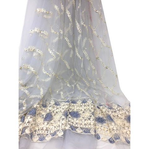 Embroidered Net Materialin Light Grey N White Embroidery - fabric pastel net lucknowi embroidery Pastel Net embroidered sequins